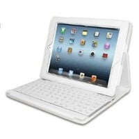 Lightahead IPAD 3/IPAD 2 Case with Built-in Bluetooth Keyboard Leather Cover with Keypad - White