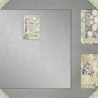 Distressed Wood Magnetic Message Board With Two 5 x 7 Photo Openings - Steel Message Board - Memo Board - (Blue Assorted)