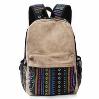 CrazyPomelo Vintage Tribe Pattern Colorful Wool Knitting Canvas Backpack (Blue)
