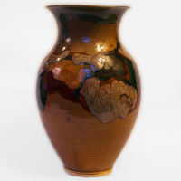 Map Vase, graceful, brown, green, tan, red, black, hand made, Born of Fire, stoneware, flower, water tight, complex, trailing, flowing, tall