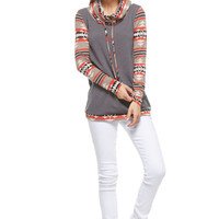 Tribal Print Cowl Neck Top - Brown
