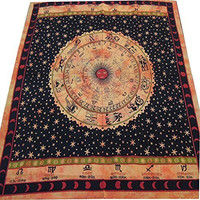 Labhanshi - Divine Ethnic Indian Wall hanging Astrology Sun Moon Tapestry