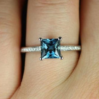 Romie 14kt White Gold Princess London Blue Topaz and Diamond Engagement Ring (Other metals and stone options available)
