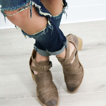 Smokin Moto Taupe Ankle Boots