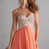 Night Moves 7202 - Coral Strapless Chiffon Homecoming Dresses Online