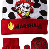 Nickelodeon Little Boys' Paw Patrol Marshall Hat and Mitten Set, Red, One Size
