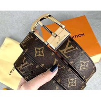 Louis Vuitton LV tide brand retro presbyopia men and women models wild belt gold
