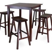 Parkland 5pc Square High/Pub Table Set with 4 Saddle Seat Stools