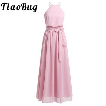 TiaoBug Women Ladies Sleeveless Halter Chiffon Bridesmaid Dress Full Length Prom Gown Pleated A-Line Long Wedding Party Dresses