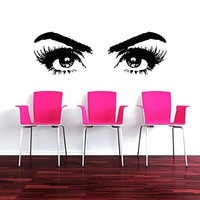 Wall Decals Makeup Eyes Girl Woman Fashion Cosmetic Hairdressing Make up Hair Nail Beauty Salon Wall Vinyl Decal Stickers Bedroom Murals
