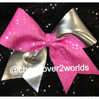 Bubble Gum Pink and Silver Shiny MetallicCheer/Cheerleading Dance Bow Ribbon