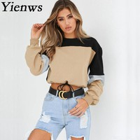 Yienws Cropped Hoodie for Women 2018 Autumn Long Sleeve Sweatshirt New Designer Patchwork Pullovers Sudaderas Mujer YIT64