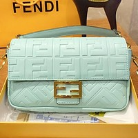 Hipgirls Fendi New fashion more letter leather shopping and leisure shoulder bag crossbody bag Mint Green