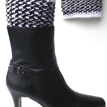 Boot Cuffs Black and White Houndstooth