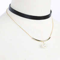Black Leather Look Faux Pearl Multirow Necklace