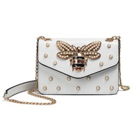 Fashion design bee metal pearl pu leather chain ladies shoulder bag handbag flap purse female crossbody messenger bag 5 colors