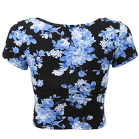 Blue Floral Print Cap Sleeve Cropped Top