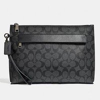 COACH New Fashion Pattern Leather Cosmetic Bag File Package Handbag Black