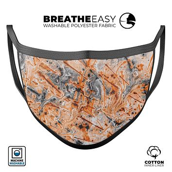 Abstract Wet Paint Orange - Made in USA Mouth Cover Unisex Anti-Dust Cotton Blend Reusable & Washable Face Mask with Adjustable Sizing for Adult or Child