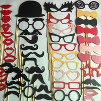 Photo Booth Props 50 DIY YOU GLUE Wedding Birthday Photo Booth Sticker Props Mustaches Lips Glass Bow Tie Hat Party Photo Props
