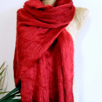 Valentines Day, Blanket scarf, Fuzzy scarf, casual, solid scarf, unique scarf, valentines,gift for her, gift for mom, free necklace