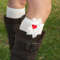 Lace trim knit boot socks with heart button, lace socks