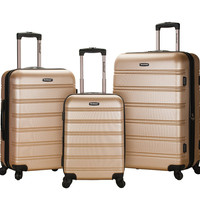 F160-CHAMPAGNE Melbourne 3 Pc Abs Luggage Set