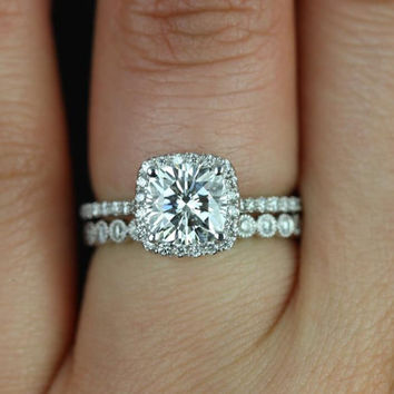 Petite Catalina & Petite Bubbles White Gold Cushion FB Moissanite and Diamond Halo Wedding Set (Other metals and stone options available)