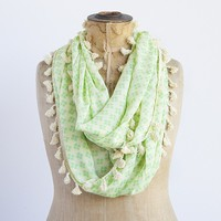 Infinity  Scarves:  Cream  With  Green  Flower  Infinity  Scarf     Natural  Life