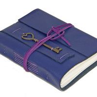 Purple Leather Wrap Journal with Key Heart  Bookmark - Ready to Ship
