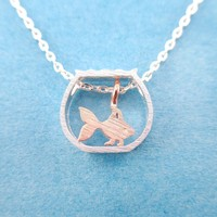 Tiny Goldfish in a Fish Bowl Shaped Pendant Necklace in Silver or Gold