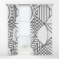 Whackadoodle White and black Window Curtains by Fimbis
