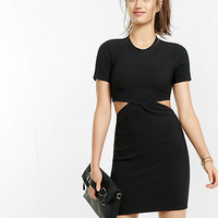 short sleeve ribbed cut out sheath dress