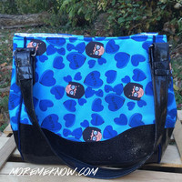 Tina <3's Butts in Blue- Handmade Charlotte City Tote Purse with Glitter Vinyl