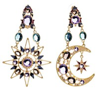 Casual Pair Of Faux Crystal Sun And Moon Earring