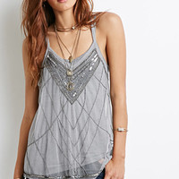 Sequined Mesh Halter Top
