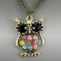 Antique Gold Chain Multi Color Crystal Owl Necklace