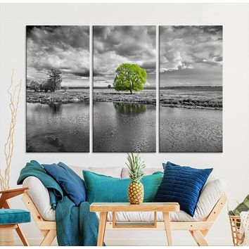 Black and White Tree Landscape Painting Large Wall Art Tree Canvas Print