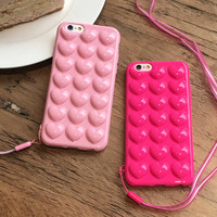 New Heart Jelly Phone Case Soft Silicone TPU Candy 3D Pink Love Case For iphone 6 6s 6plus Shell Back Cover