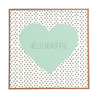 Hello Beautiful Heart Framed Wall Art / mint blue / polka dot pattern / typography / cute wall art / framed art / preppy / pretty