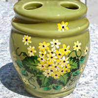 Hand Painted Tooth Brush Holder With Yellow Flowers, Bathroom Decor