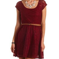 Cap Sleeve Belted Lace Dress by Charlotte Russe - Oxblood