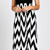 Enchanted Evening Maxi Strapless Dress - Black and White
