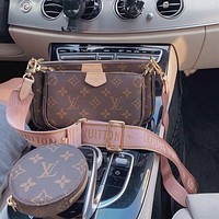 LV Louis Vuitton fashion full printed letters ladies shoulder strap diagonal bag three-piece shoulder bag