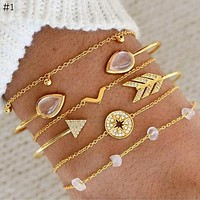 Styles Bracelet Set For Women Shell Star Map Lotus Pineapple Heart Natural Stone Beads Chains Bangle Jewelry