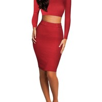 Miusol Women's Long Sleeves High Waist Sweater Two Pieces Bodycon Dress
