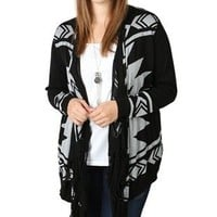 Plus Size Long Sleeve Sparkle Cozy with Aztec Print and Fringe