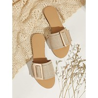 Open Toe Buckle Decor Flat Sliders