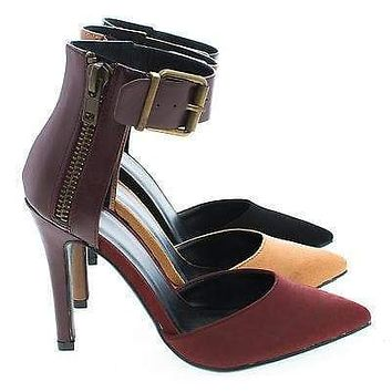 Dara By Delicious, D'Orsay Dual Fabric Chunky Buckle Ankle Cuff Stiletto Pumps