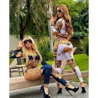 New Popular Women Casual Round Collar Top Pants Set Two-Piece